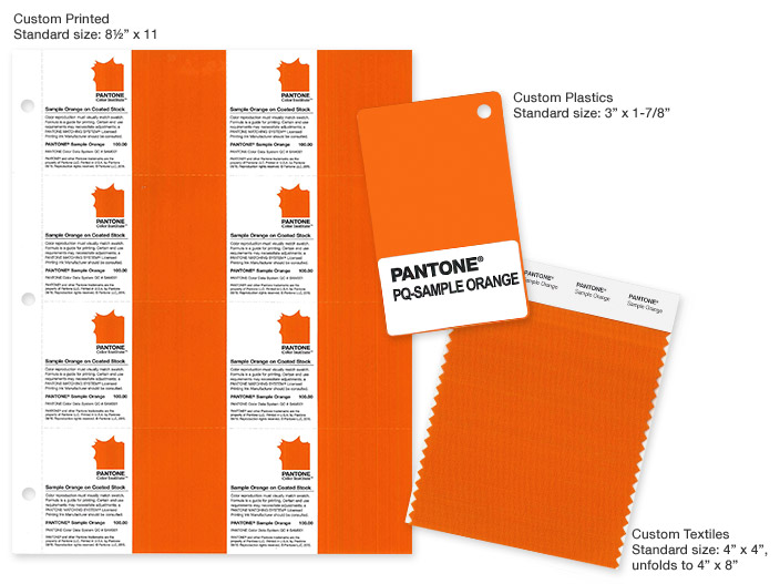 Pantone Custom Color Sample Cards in plastic, paper and cotton
