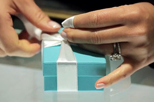 A small jewelry box in Tiffany's Blue.