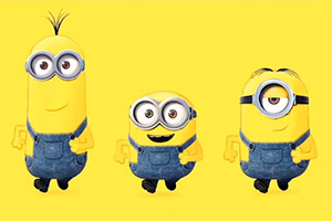 Three minion characters on a background of minion yellow.