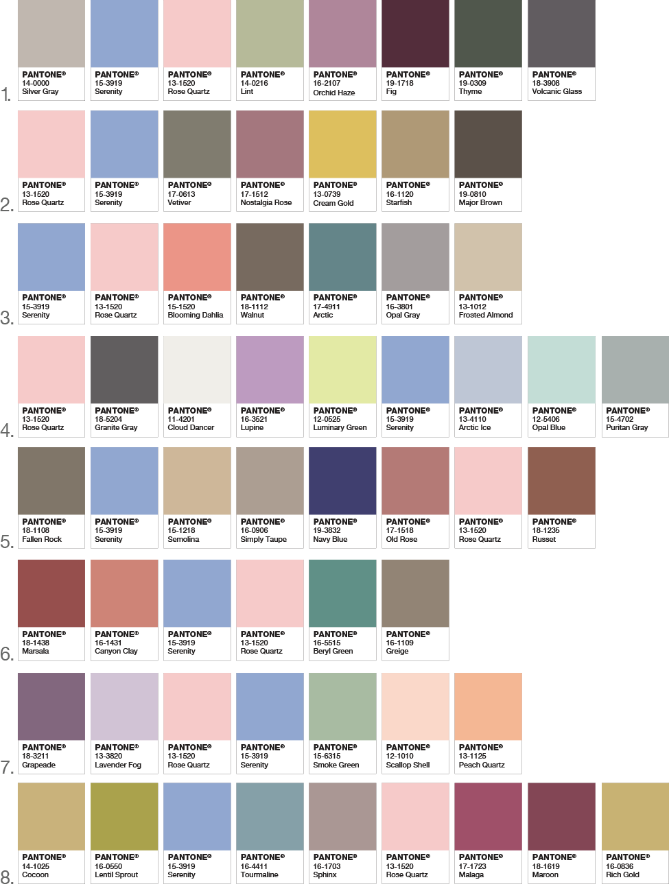 Color of the Year 2016 - Color Pairings and Pallettes