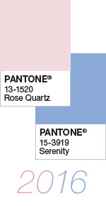 Pantone Color of the Year 2016 Rose Quartz 13-1520 and Serenity 15-3919